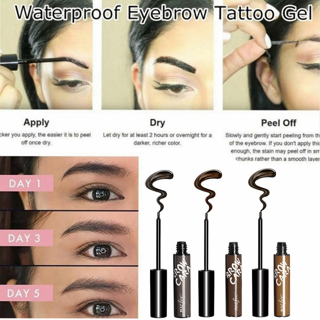 Lazy Makeup Eyebrow Enhancers Liquid Gel Long Lasting Waterproof Easy to Wear Tear Peel-off Brow Tattoo Tint Eyes Brows Natural 2