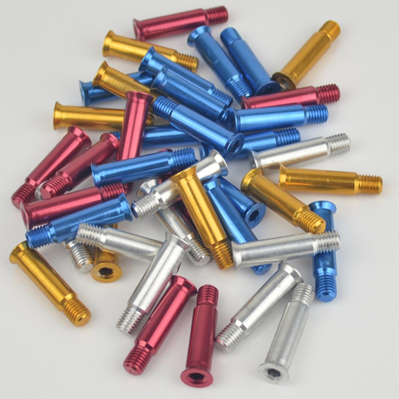 34mm Aluminium Alloy Inline Speed Skating Bolt For Speed Roller Skates Patines 8mm Diameter Axle Red Golden Blue Silver 8 Pcs