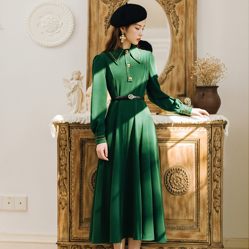 European new travel vacation long sleeve retro dress female temperament was thin high waist long dress with belt F892