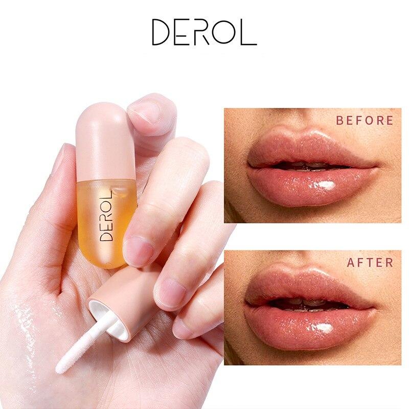 DEROL Moisturizing Plumping Lip Gloss Lip Plumper Mineral Oil 5.5ml Lip Extreme Volume Essence Nutritious Lips Enhancer Serum