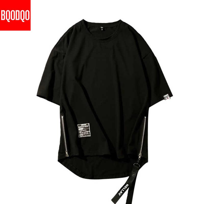 Zipper Hip-Hop Casual Übergroßen Mode T-shirt Sommer Streetwear Harajuku Männlichen Oansatz Baumwolle Kurzarm Fitness T hemd Männer
