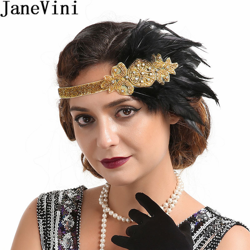 JaneVini Vintage Wedding Hats And Fascinators For Women Elegant Feathers Headpiece Cosplay Wedding Prom Party Headband 1920s