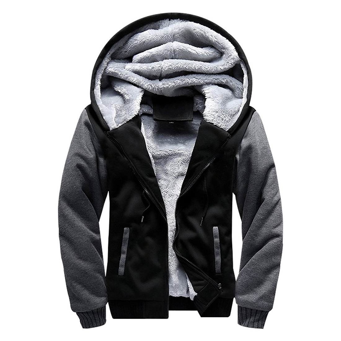 Men Solid Color  Hoodie Zipper Hooded Sweatshirt Winter Coat Thick Fleece Warm Jacket Black Streetwear Plus Size Raglan Hoodies