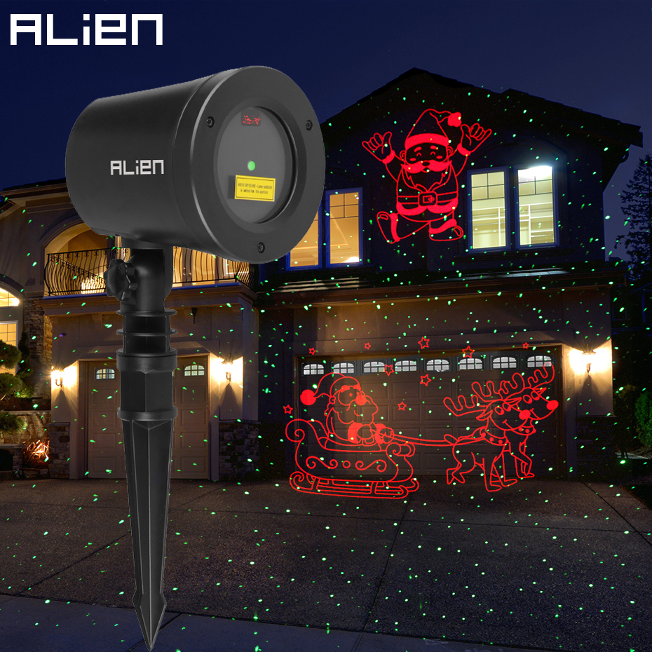 ALIEN Christmas Laser Projector Motion Red Theme Santa Elk Sled Static Green Dots Star Outdoor Waterproof Garden Tree Show Light