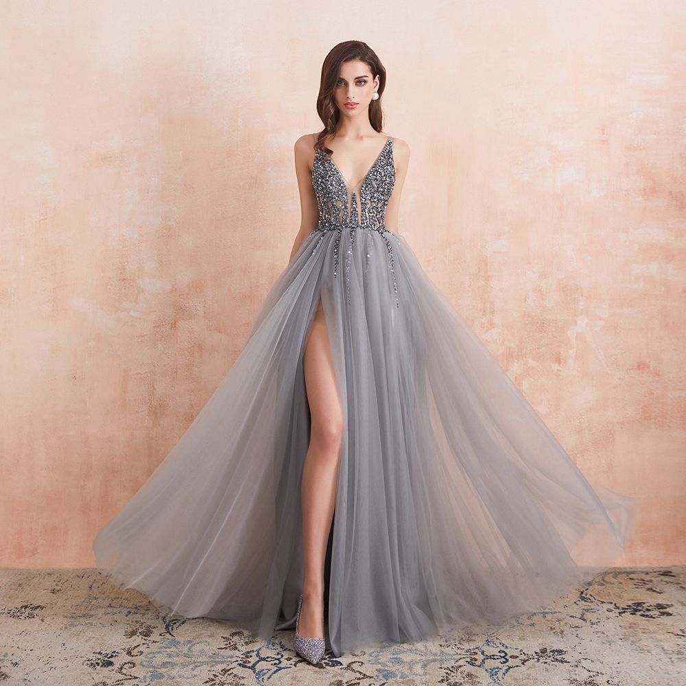 Sexy V-Neck Long Prom Dresses 2020 Beaded Beading Crystal High Splits Backless A-Line Formal Gown Party Dress 1