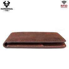 Portefeuille Vintage en cuir de cheval fou pour homme, porte-monnaie fin à fermeture éclair, pochette en cuir de vache