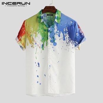 2020 Men Business Shirt Splashed Ink Print Button Lapel Short Sleeve Casual Brand Shirt Men Camisa Masculina INCERUN Streetwear
