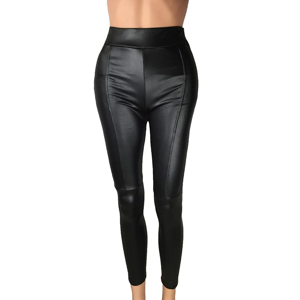 Women Solid Color High Waist Slim Stretch Faux Leather Leggings Pants Trousers