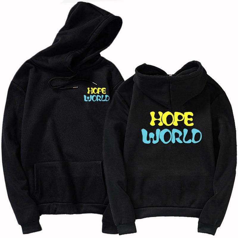 Harajuku Sweatshirt Bulletproof Boy Scouts J-hope Hope World Yellow Hixtape Kpop Hoodie Bangtan  Hope World Pocket Print Hoody