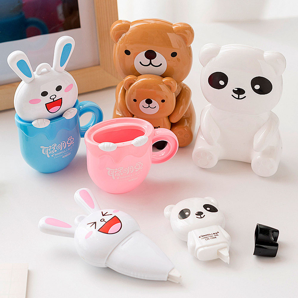 1Pcs Novelty Cartoon Rabbit Bear Large Capacity Correction Tape Student Kawaii Prize Stationery School Office Corrector Supplies