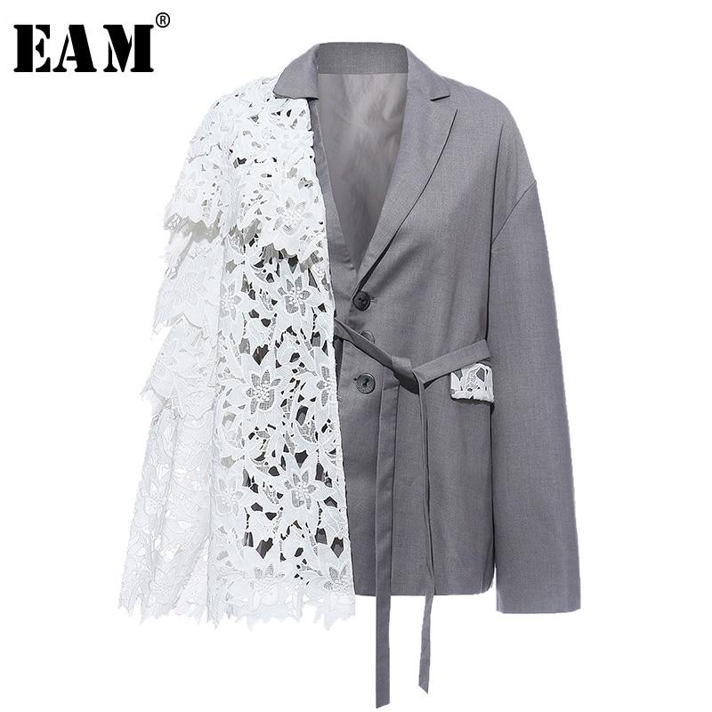 [EAM]  Women Gray Lace Bandage Split Joint Blazer New Lapel Long Sleeve Loose Fit  Jacket Fashion Tide Spring Autumn 2020 1N505