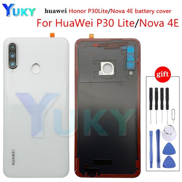 עבור Huawei P30 Lite סוללה כיסוי נובה 4e אחורי זכוכית דלת פנל מקרה עבור Huawei P30 Lite סוללה כיסוי + מצלמה עדשת להחליף