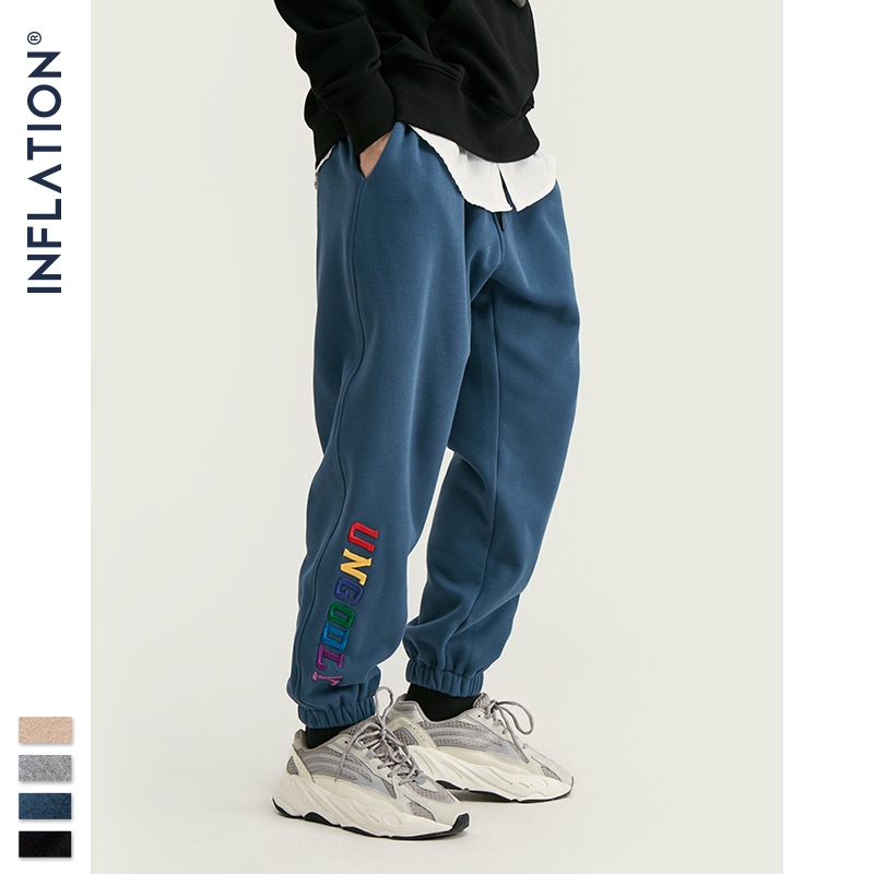 INFLATION Letter Embroidery Track Pants Men Hip Hop Loose Fit Mens Joggers Pants 2019 FW Fashion Winter Harem Pants Men 93454W