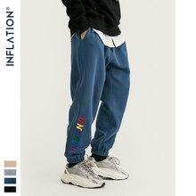 Inflacja wyszywane litery spodnie do biegania mężczyźni Hip Hop luźny krój męskie spodnie joggery 2020 FW moda zimowe spodnie Harem mężczyźni 93454W