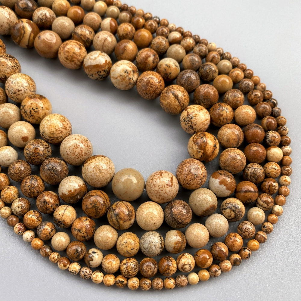 Factory Price 4 6 8 10 12mm Natural Picture Jasper Round Loose Beads 15