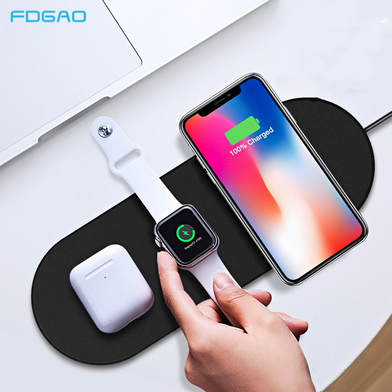 FDGAO Qi Wireless Charger For iPhone X XS MAX 11pro XR 8 Fast 3 in 1 Charging Pad for Airpods Pro Apple Watch 5 4 3 2 1 Charger