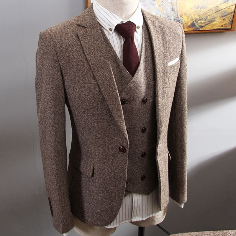 Brown Herringbone Tweed Suit Men Business Dress 3-pieceKorean Slim Fit Groom Wedding Party Suits Tuxedo 6XL Traje Novio 2019
