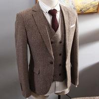 Brown Herringbone Tweed Suit Men Business Dress 3 pieceKorean Slim Fit Groom Wedding Party Suits Tuxedo 6XL Traje Novio 2019
