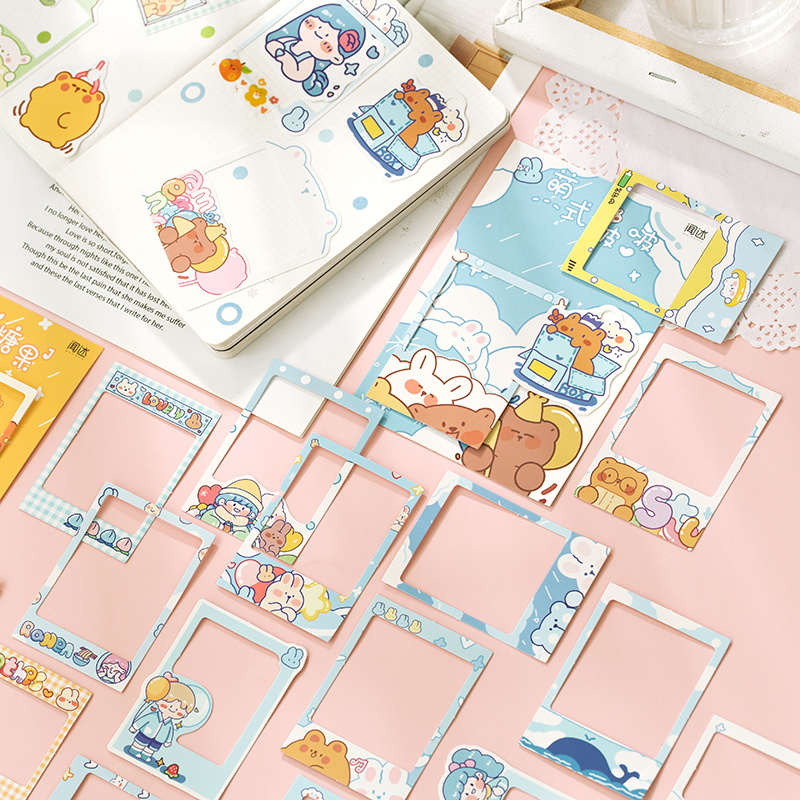Journamm 30pcs Kawaii Frame and Cute Tag Cards for Photo Cartoon Sticker Planner Scrapbooking Statio