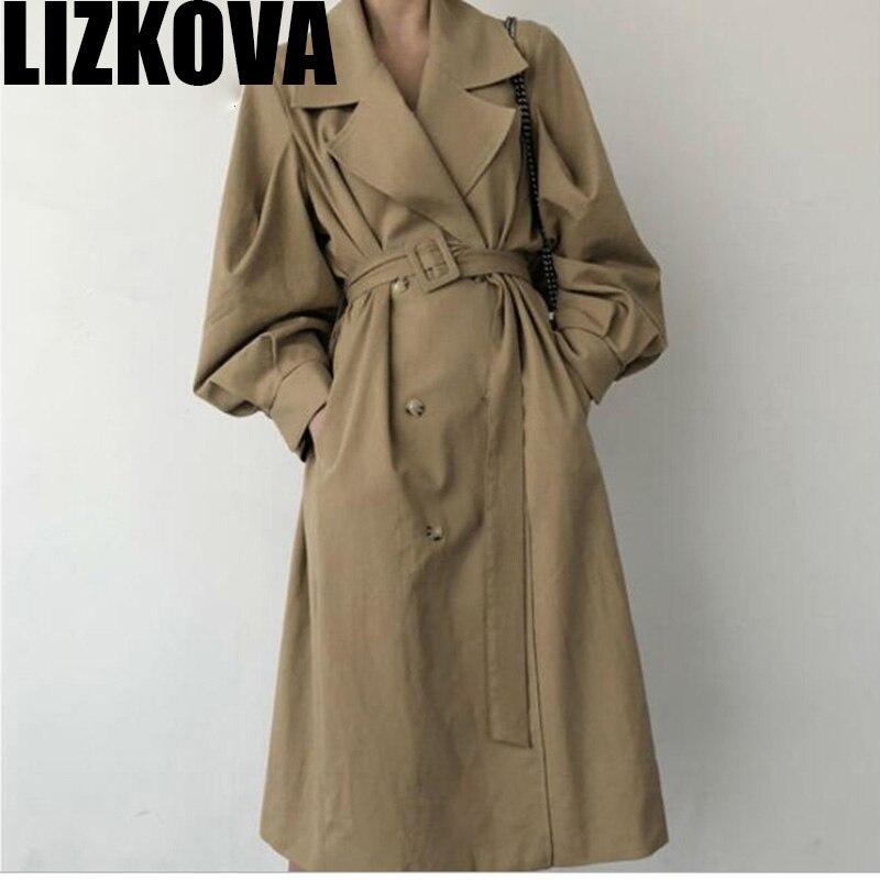 Spring 2020 Woman Khaki Long Trench Coat British Style Vintage Puff Sleeve Long Dust Coat Elegant Waist Bandage Windbreaker