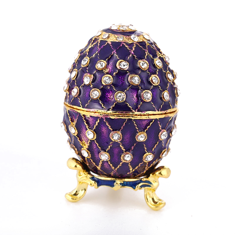 European Purple Easter Eggs Ornament Jewelry Trinket Box Russian Home Decoration Accessories Gold Plated Enamel Egg