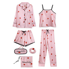 Sexy Pyjama Set Nightwear Slip Dress for Women Satin Sleepwear Pijamas Home Wear Home Clothing Embro