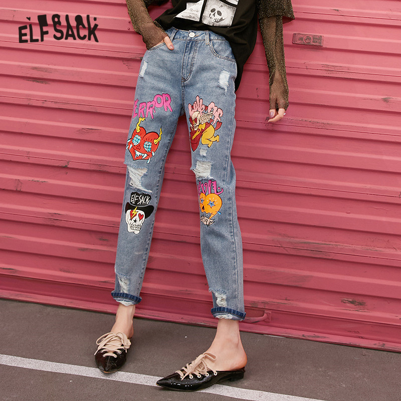 ELFSACK Blue Solid Graphic Print Ripped Washed Korean Women Jeans 2020 Spring Straight Loose Casual Ladies Daily Denim Trousers