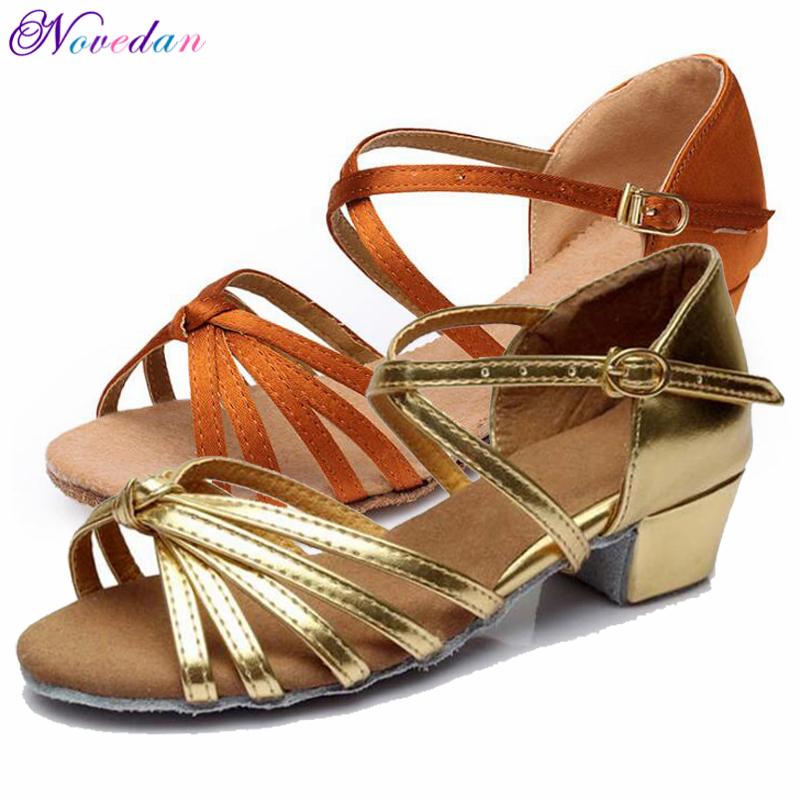 Discount New Wholesale Girls Children Kids Ballroom Tango Salsa Latin Dance Shoes Satin Cuban Low Heel Shoes 17 Colors