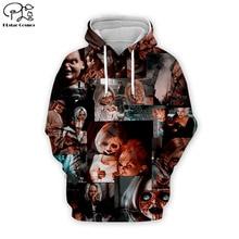 цена на Men Women Child's play Bride of Chucky 3d Halloween gift Hoodies unisex Sweatshirts autumn zipper pullover tracksuit t shirts