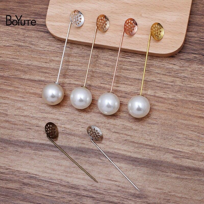 Boyute (30 peças/lote) metal latão 12mm malha lapela pino base diy feito à mão broche pinos acessórios de jóias