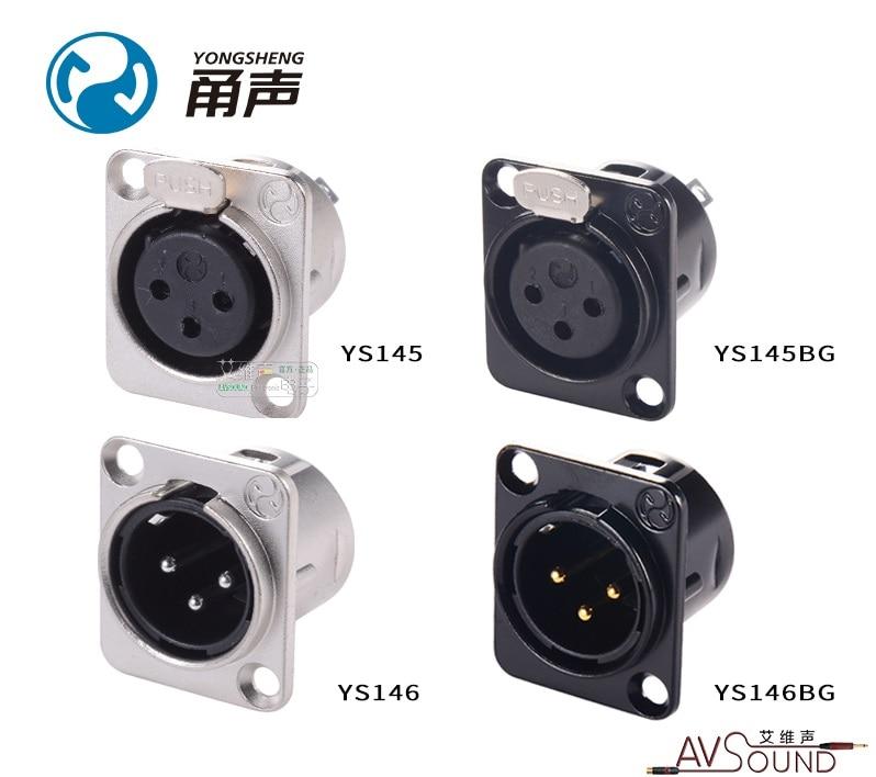 YONGSHENG Three-core YS146 YS146-B YS146-BG YS145 YS145-B YS145-BG Male Female XLR Cannon Socket D Type Module For 86 Panels