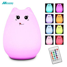 Children's Night Light Led Lamp Timer USB Rechargeable Color Changing Remote Control Cartoon Kitty Silicone Lighting Nightlight