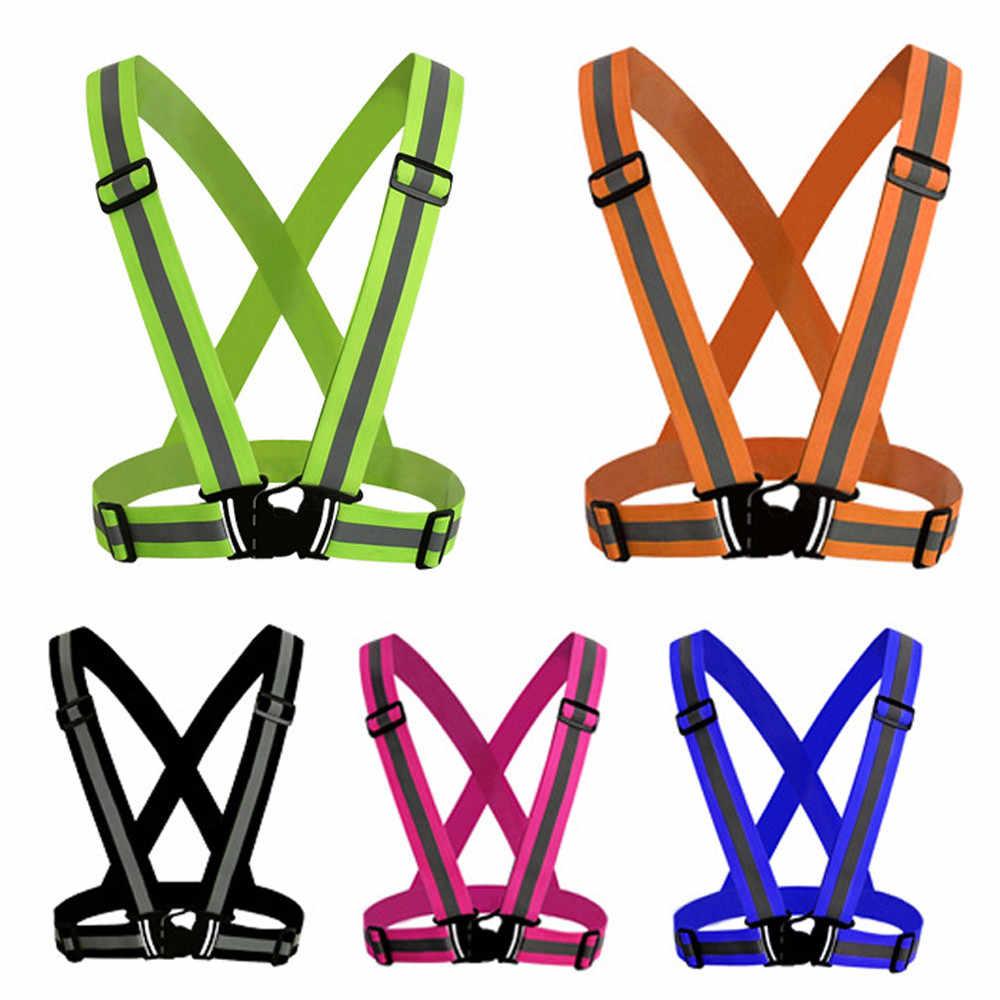 Visibilidade colete de néon cinto reflexivo coletes de segurança apto para correr ciclismo esportes cruz volta proteção ajustável cinta fivela