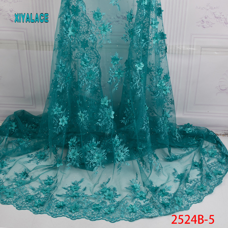 3D Nigerian Lace Fabric High Quality Tulle Mesh Lace Fabric Embroidery African Wedding Lace Fabric For French Lace YA2524B-5