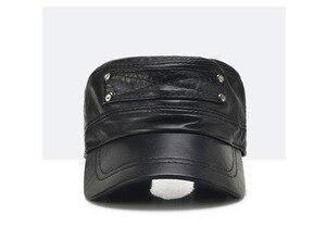 Image 3 - [Aetrends] 黒の羊革野球キャップ男性ブランドフラットキャップお父さん帽子屋外革帽子gorras planas z 5296