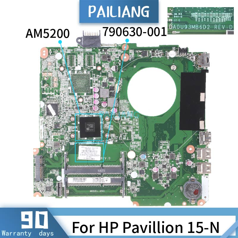PAILIANG Laptop Motherboard For HP Pavillion 15-N Mainboard DA0U93MB6D2 790630-001 Core AM5200 TESTED DDR3