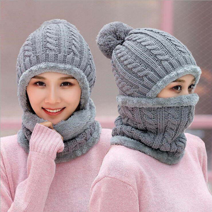 Seioum New European Women's Knitted Cap Winter Warming Pure-color Curled Coarse Wool Cap Warming Girl's Fashion Cap Knitted