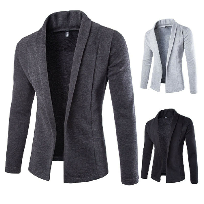 2019 Autumn  Newest Men's Casual Slim Fit No Button Suit Blazer Business Work Coat Jacket Outwear Size M-2XL