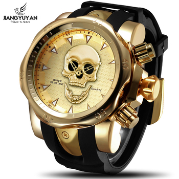 цена JIANGYUYAN Cool Big Dial 3D Skull Watch Men Gold Silicone Strap Wristwatch Mens Watches Top Brand Luxury Casual Quartz Clock Men онлайн в 2017 году