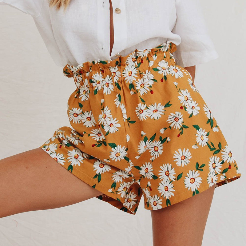 Women's Shorts Sunflower Tropical Print Belted Bohemian Shorts Summer Beach Vacation Casual Elastic Mid Waist Wide Leg Shorts