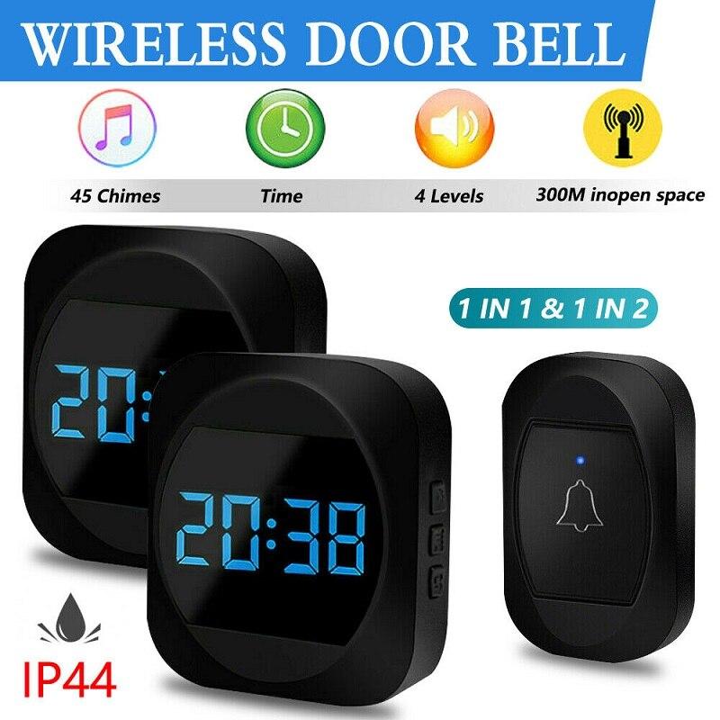 IP44 Waterproof Doorbell Welcome Bell Home Chime Door Bel 120M Remote US EU UK Plug LED Flash Home Cordless Smart Door Bell