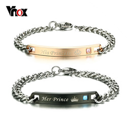 Vnox Free Engraving Couple Bracelet Love Giving Gift Stainless Steel Chain ID Jewelry for Women Men DropShipping