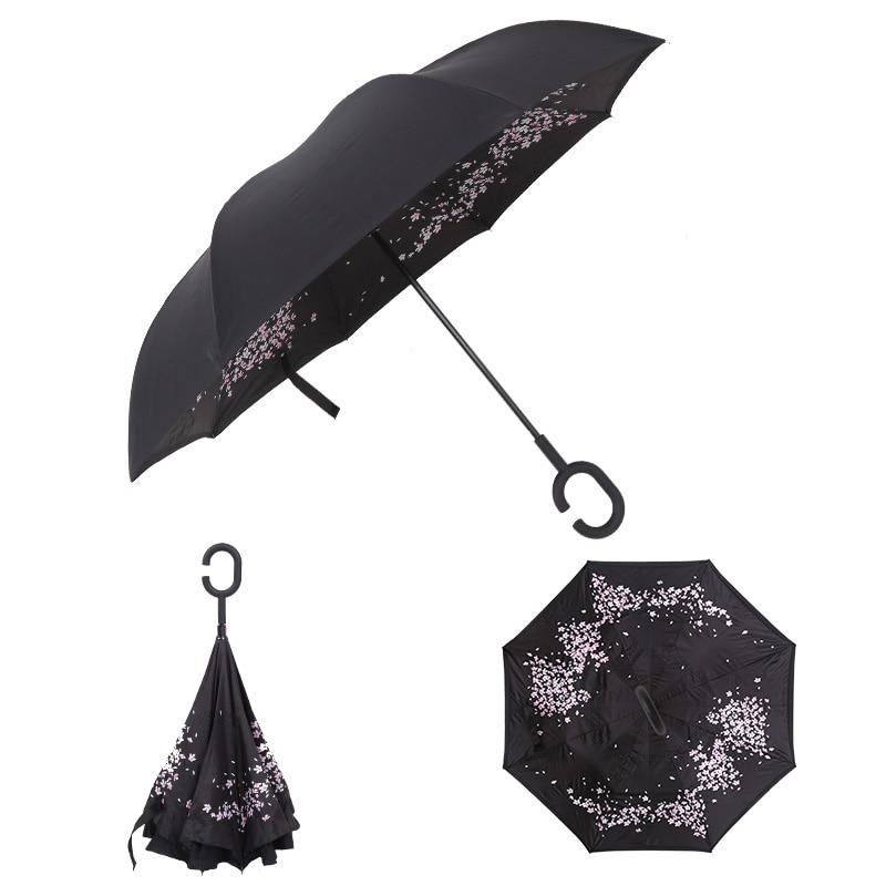 Parapluie de pluie inversé Double couche coupe-vent Protection contre la pluie auto-support c-crochet mains pour voiture