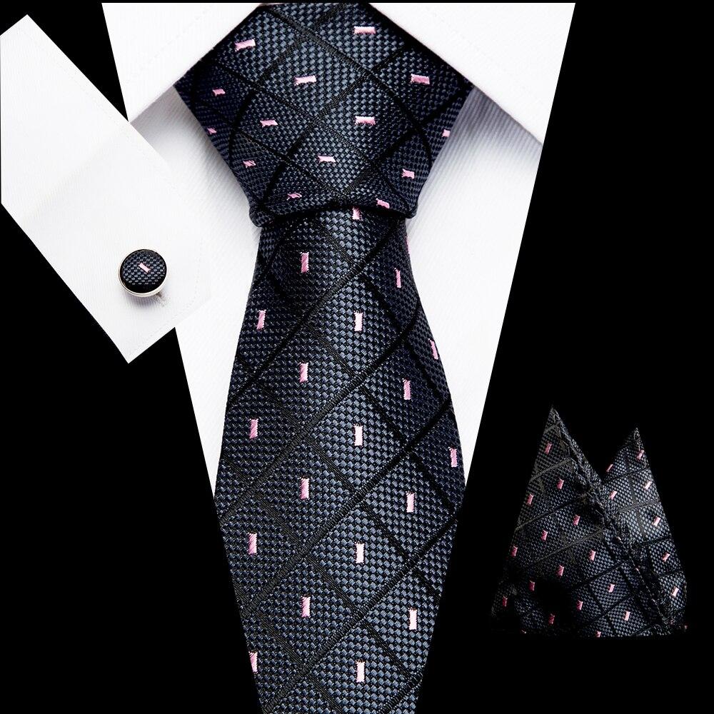 7.5 Cm Classsic 100%  Silk  Tie Set For Men Plaid Necktie Sets Cufflik Pocket Square Mens Suit Tie Handkerchief