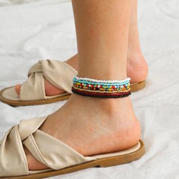 7 sztuk zestaw wykonane ręcznie wyszywane koralikami Anklet dla kobiet regulowana kolorowa bransoletka na kostkę na nodze biżuteria na stopy tanie i dobre opinie Brak CN (pochodzenie) Szkło as photo Kobiety Łańcuszki na nogi BOHEMIA ROUND PQ200735 moda bead anklet bead bracelet