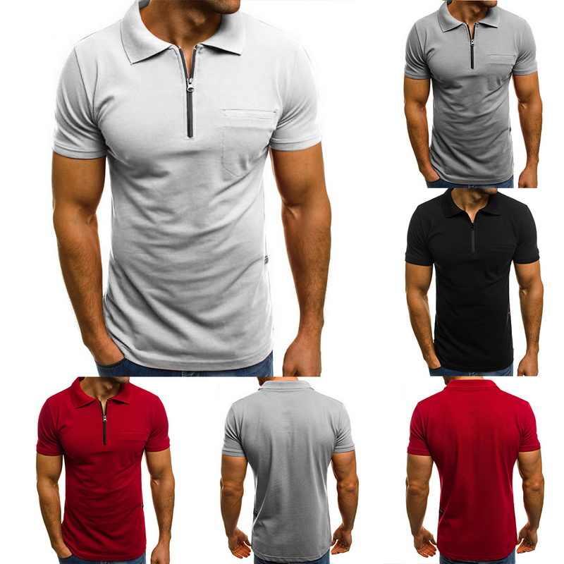 HEFLASHOR 2020 Mens Polo Shirts 여름 짧은 소매 기본 셔츠 캐주얼 지퍼 폴로 솔리드 티 플러스 사이즈 3XL 유니폼 테니스 탑