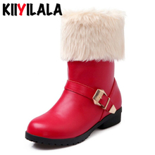 Kiiyilal Brand Fur Winter Snow Boots For Women Shoes New Buckle Slip-on Round Toe Non-slip Warm Woman Ankle Boots Big Size 34-43 2016 fashion winter women ankle boots round toe printing wedges low heel shoes big size 30 46 slip on snow boots zapatos mujer