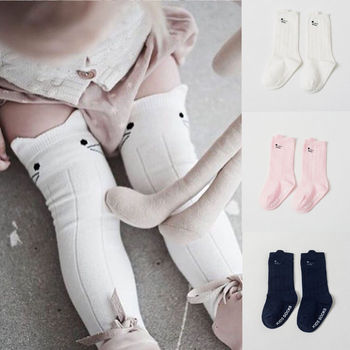 Kids Baby Girl Stockings Child Accessories Toddler Cartoon Cotton Knee High Tights Cats Printed Stockings 0-4T image