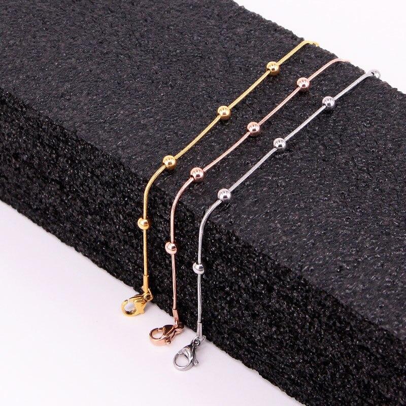 Высокое качество простая цепочка из змеиных костей 5 бусин ножной браслет из нержавеющей стали розовый браслет золотого цвета для женщин подарок длина 20 см + 5 см Анклеты      АлиЭкспресс