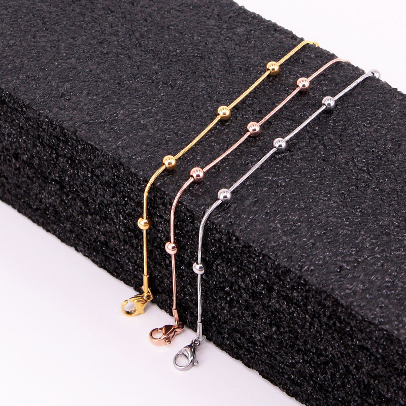 High Quality Simple Snake Bone Chain 5 Bead Anklet Stainless Steel Rose Gold Color Anklet For Women Gift Length 20cm + 5cm